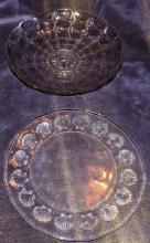 Two Glass Serving Plates Shells & Flowers