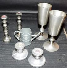 Collection Assorted Items-candlesticks mugs Water Pitcher