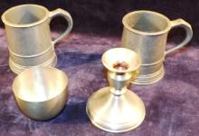 Collection Assorted Pewter Mugs Candlesticks Cups