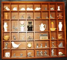 Hanging Shadow Box With Miniature Porcelain Collection