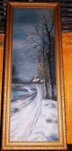 Oil On Canvas Snow Covered Cabin Signed B. Benson 1919