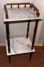 Two Tier Marble Side Table