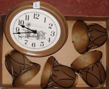Box Lot-Lamp Shades & Clock
