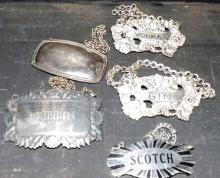Collection 5 Various Whiskey Bottle Metal Tags