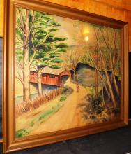 Framed Color Pencil Covered Bridge Signed Marcello