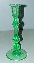 Depression Green Vaseline Candlestick
