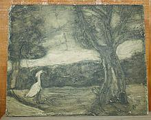 Oil on Board Swan on Lake signed Anty