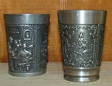 Pair Pewter Tavern Scene Cups