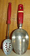 Pair of Red Handle Scoop and Spoon