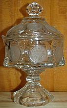 Fostoria Coin Dot Crytal Covered Compote