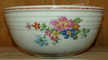 Vintage Bake Oven Mixing Bowl w/ Needlepoint Flower Pattern