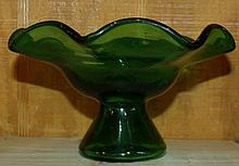 Studio Art Glass Forest Green Compote