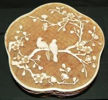 Clover Leaf Carved Jewelry Box with Bird and Tree Motif, marked Ivory Dynasty