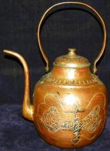 Large Copper Kettle with Open Handle and Applied Silver Fish Motif
