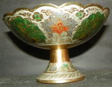Cloisonné Pestle Bowl w/ Peacock Design