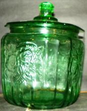 Green Depression Covered Biscuit Jar