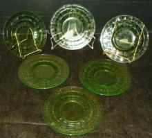 Collection 6 Green Depression Vaseline Plates