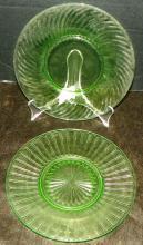 Collection 2 Green Depression Vaseline Plates