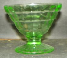 Green Depression Vaseline Block Sherbet