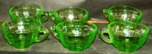 Collection 6 Green Depression Vaseline Cups