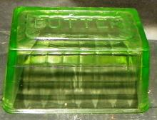 Green Depression Vaseline Rectangle Butter Dish Top