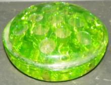 Green Depression Vaseline 13 Hole Flower Frog