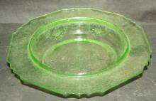 Green Depression Vaseline Round Butter Dish Bottom