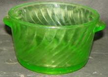 Green Depression Vaseline Swirl Double Handled Bowl