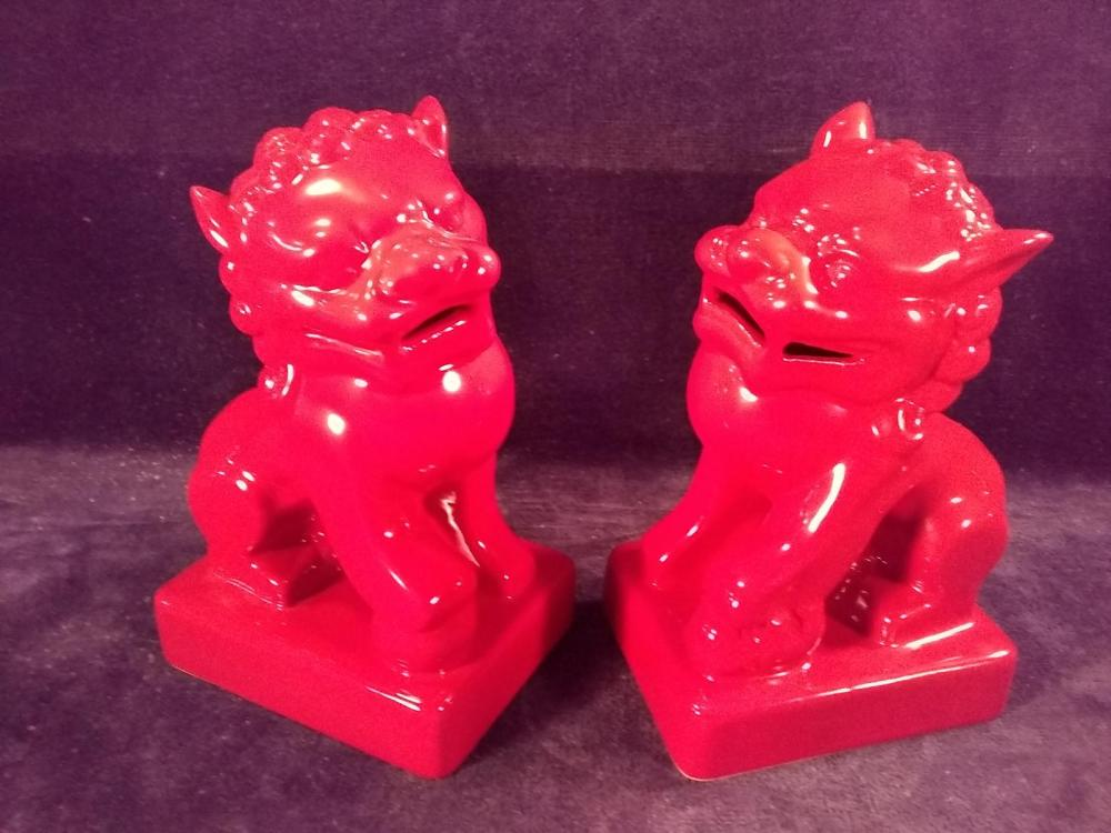 Pair of Ox Blood Foo Lions Book Ends