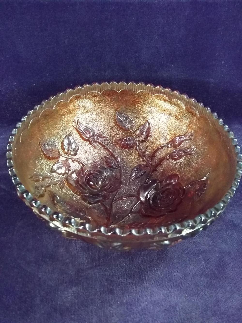 Vintage Carnival Iridescent Bowl w/ Raised Rose Detail