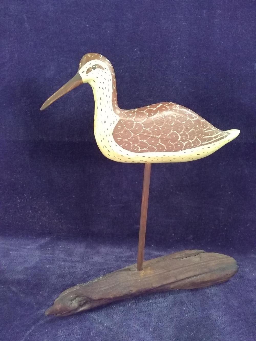 Hand Carved Wooden Shore Bird on Driftwood