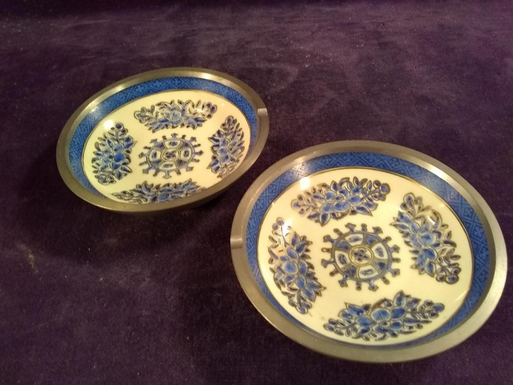 Pair of Porcelain Pewter Lined Ashtrays