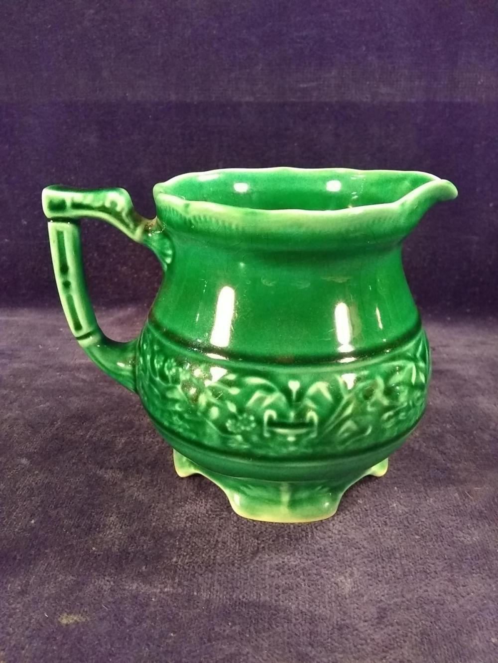 Antique USA Green Glazed Pitcher