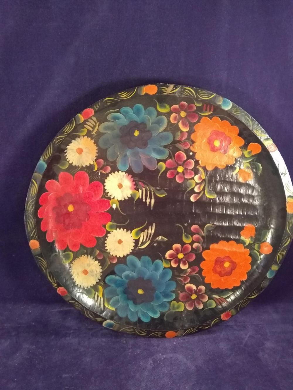 Hand Carved Hand Painted Wooden Tray