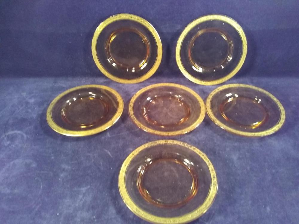 Collection 6 Amber Gold Rimmed Plates