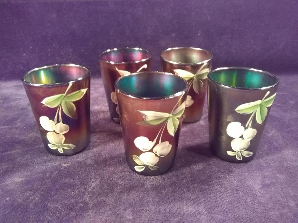 Collection 5 Iridescent Hand painted Tumblers