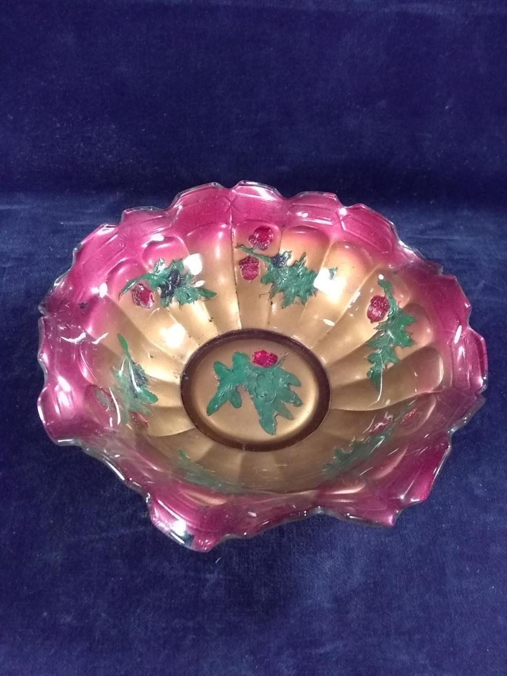 Vintage Ruffled Edge Goofus Glass Bowl