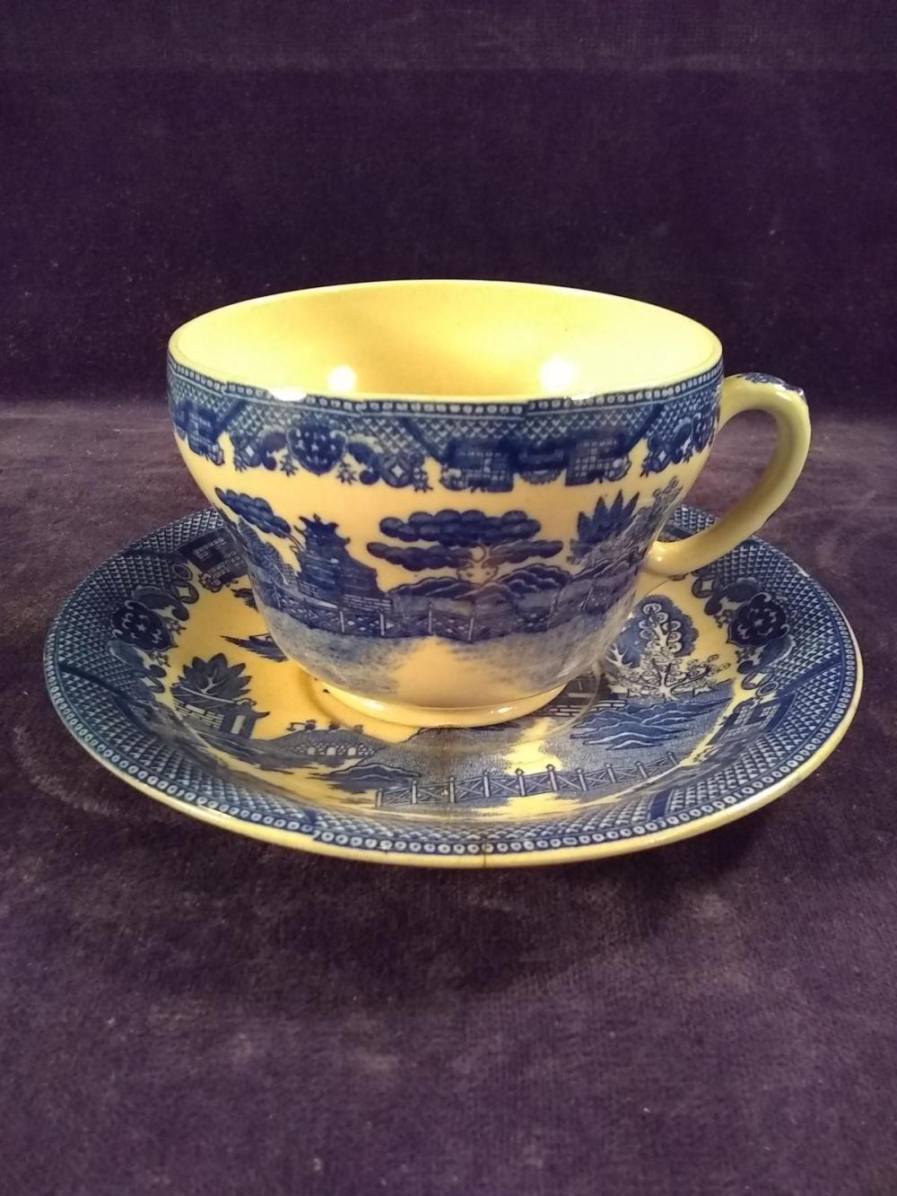 Vintage Blue Willow, Johnson Brothers oversized Mug and Saucer