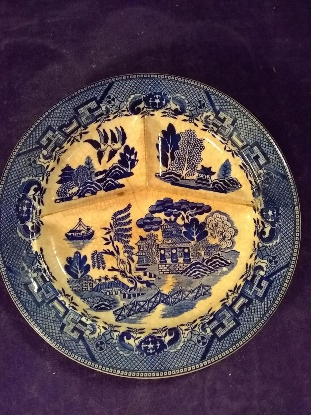 Vintage Blue Willow, Johnson Brothers Divided Plate