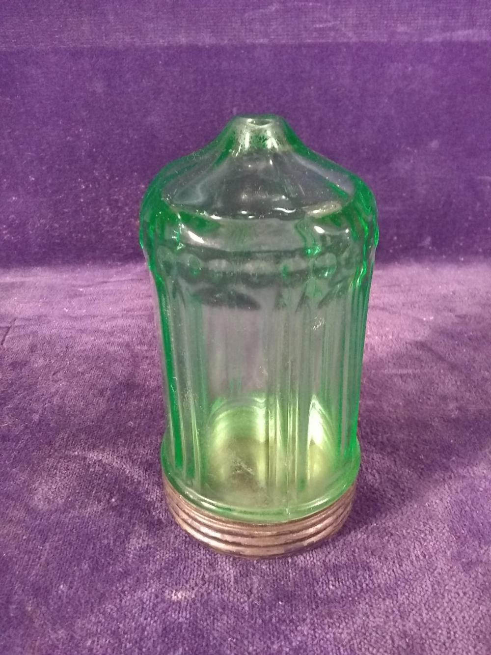 Antique Green Depression Vasoline String Dispenser