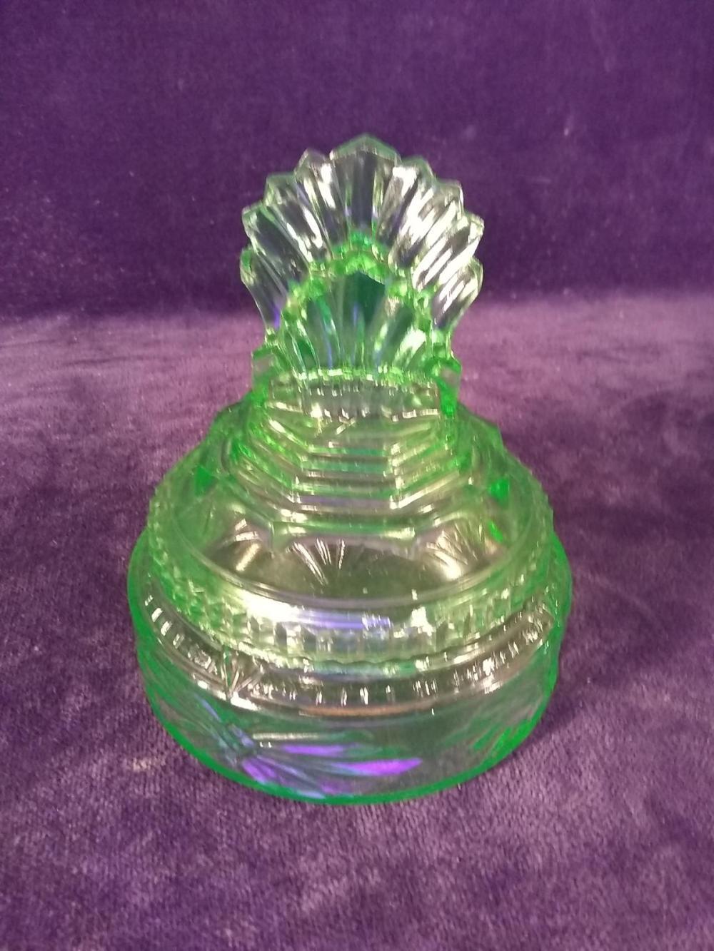 Antique Green Depression Vasoline Covered Dresser Jar