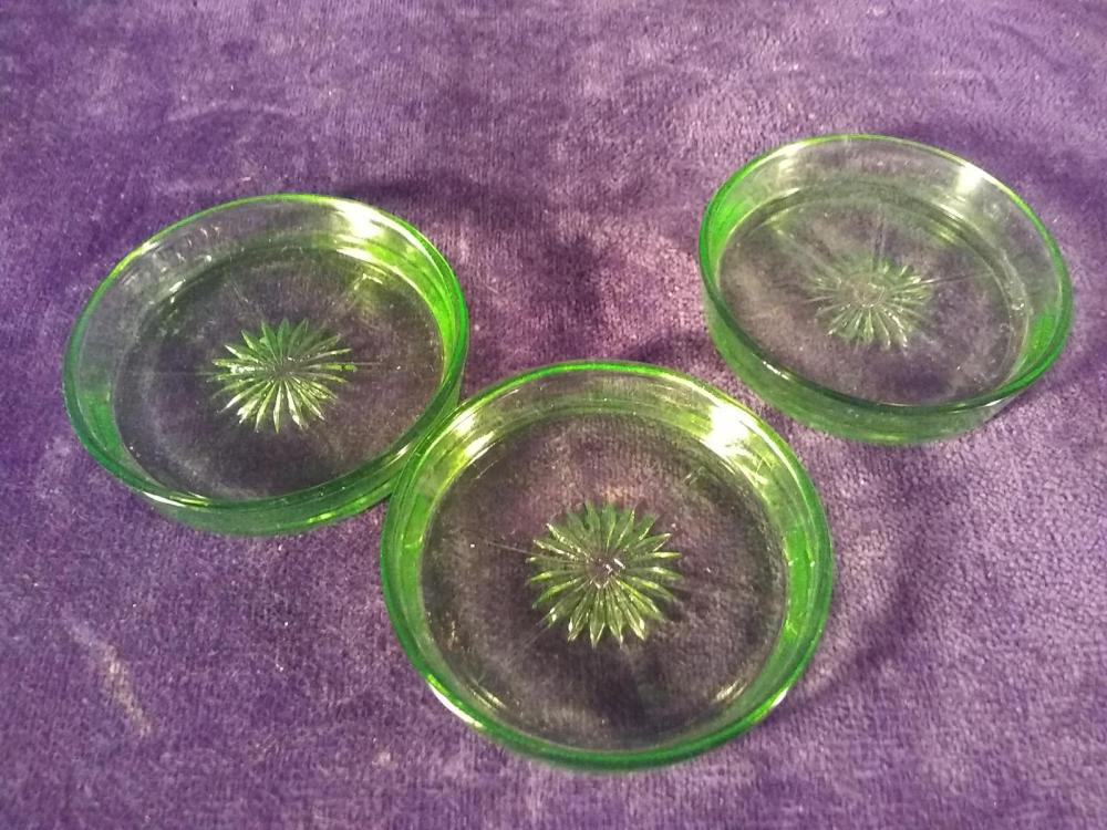Collection 3 Green Depression Vasoline Coasters-Federal Glass Co