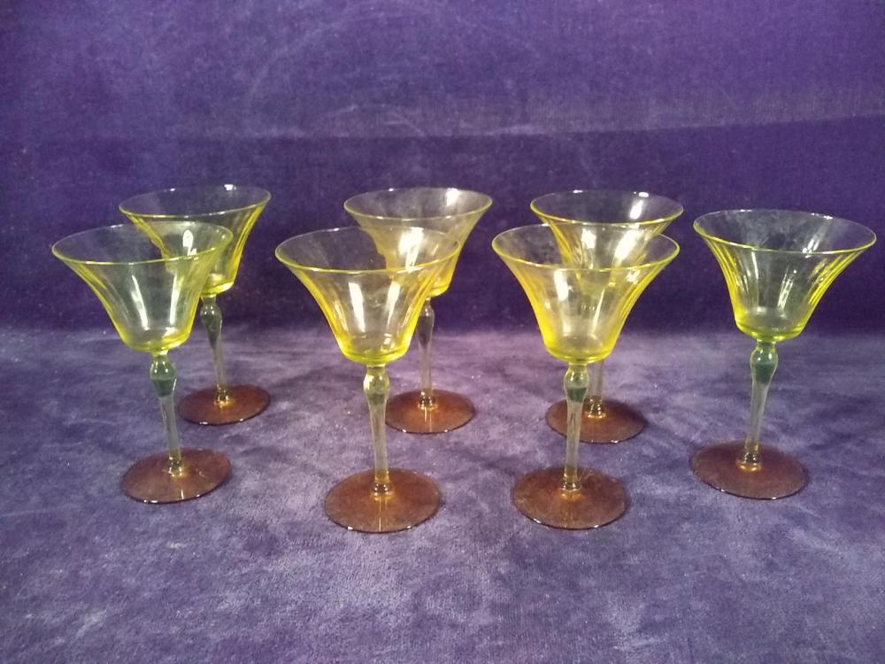 Collection 7 Yellow Depression Vasoline Stemmed Glassware