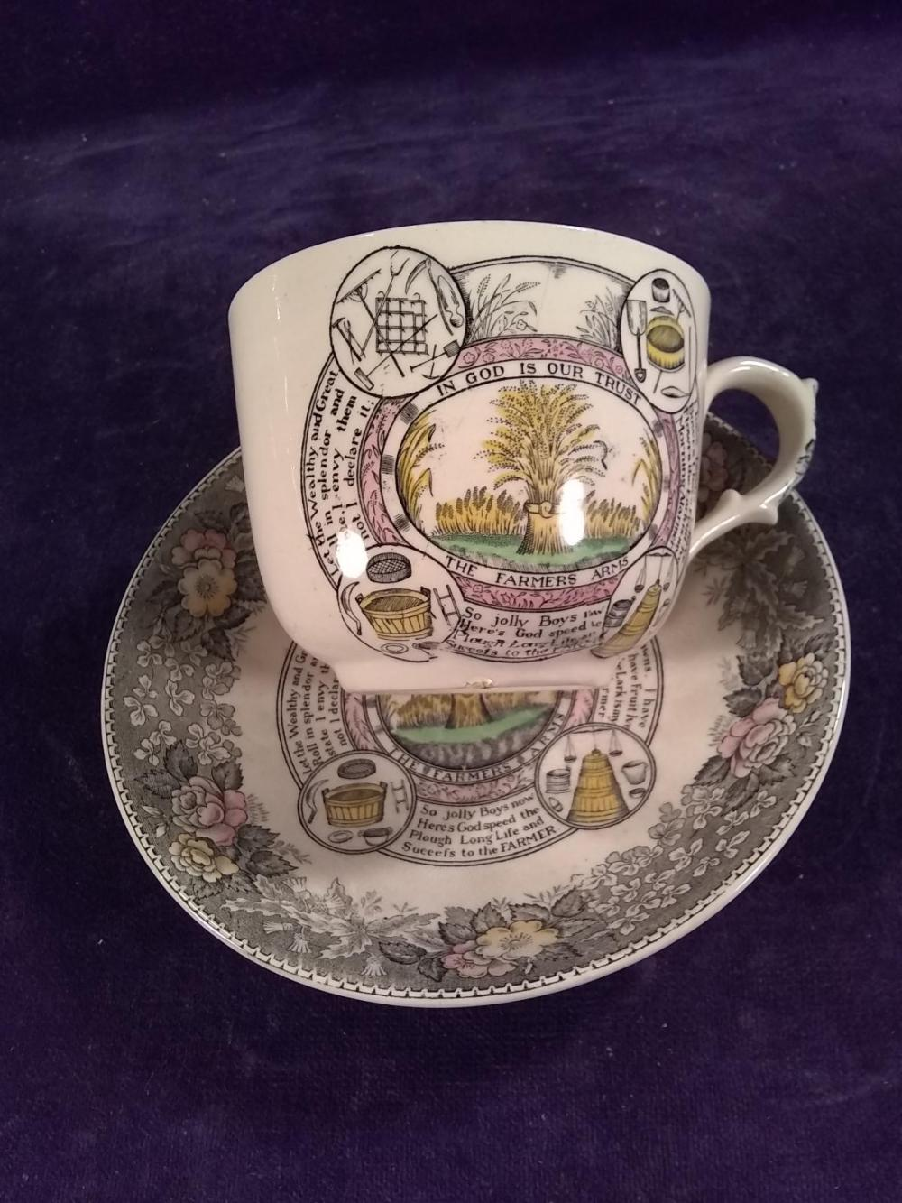"""England Adams Oversized """"In God We Trust"""" Cup and Saucer"""