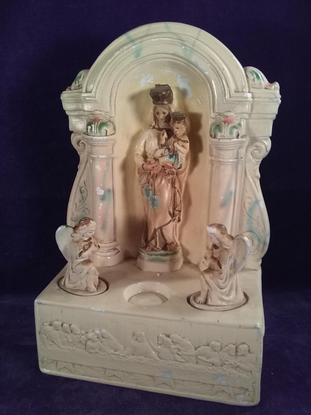 Vintage Chalkware Catholic Prayer Altar 1936