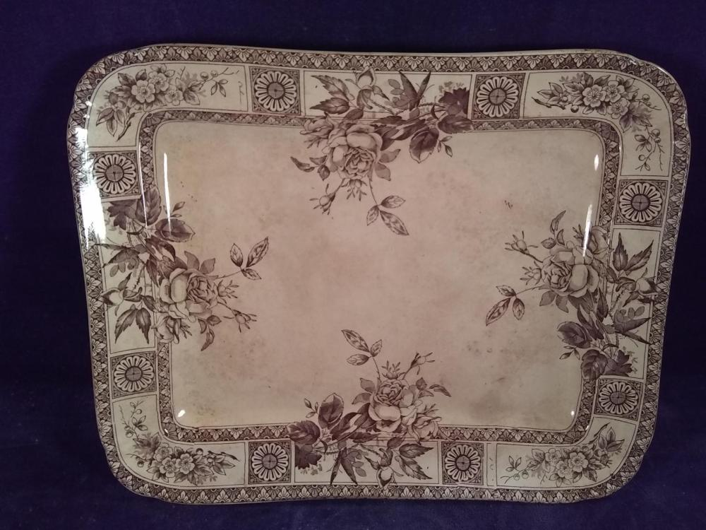 Early Brown Transfer Ware Garfield Platter