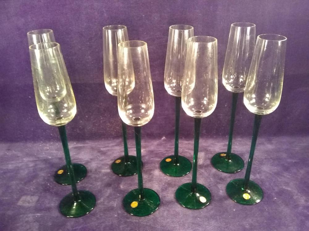Collection 7 Green Tall Stemmed Champagnes -Romania