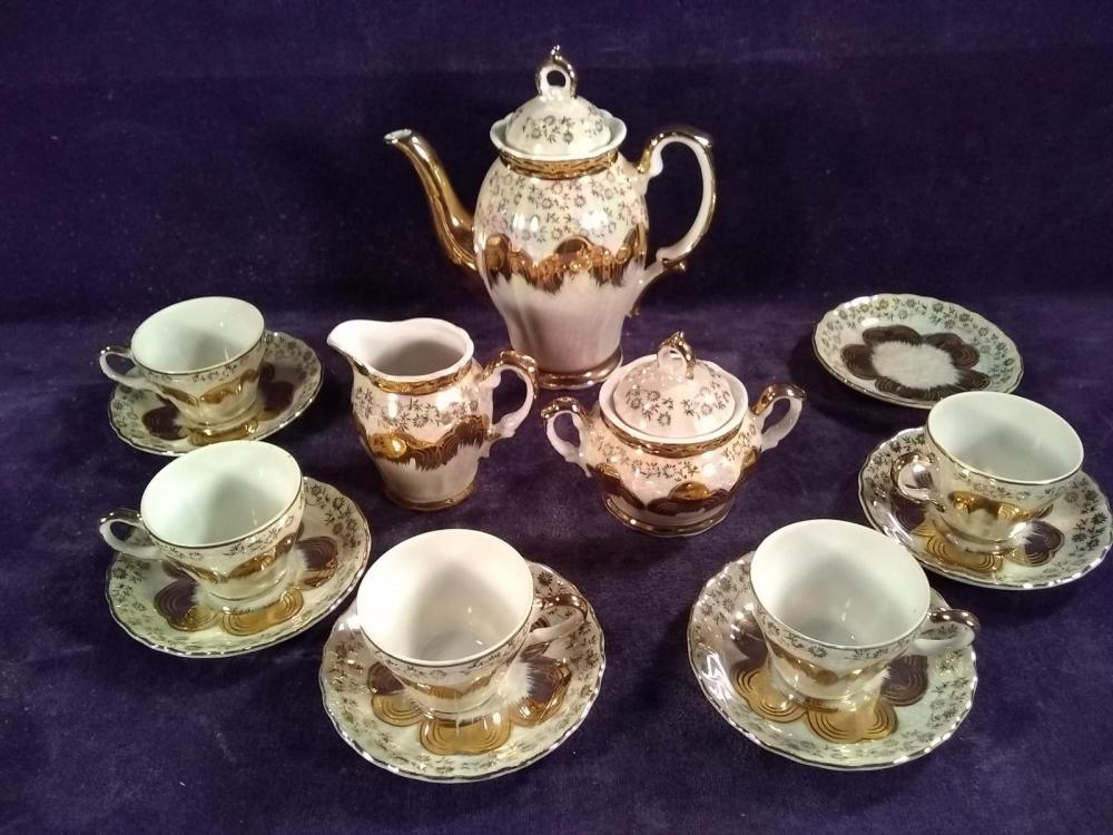 Gold Decorated Lusterware Sterling China Tea Set