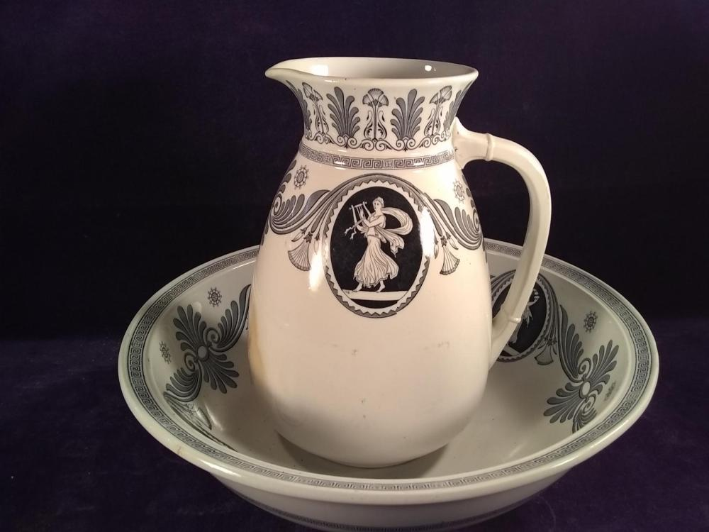 Early Athens Porcelain Bowl and Pitcher