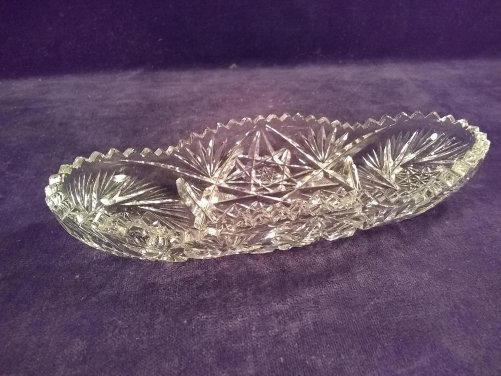 Early Cut Glass Asparagus Dish